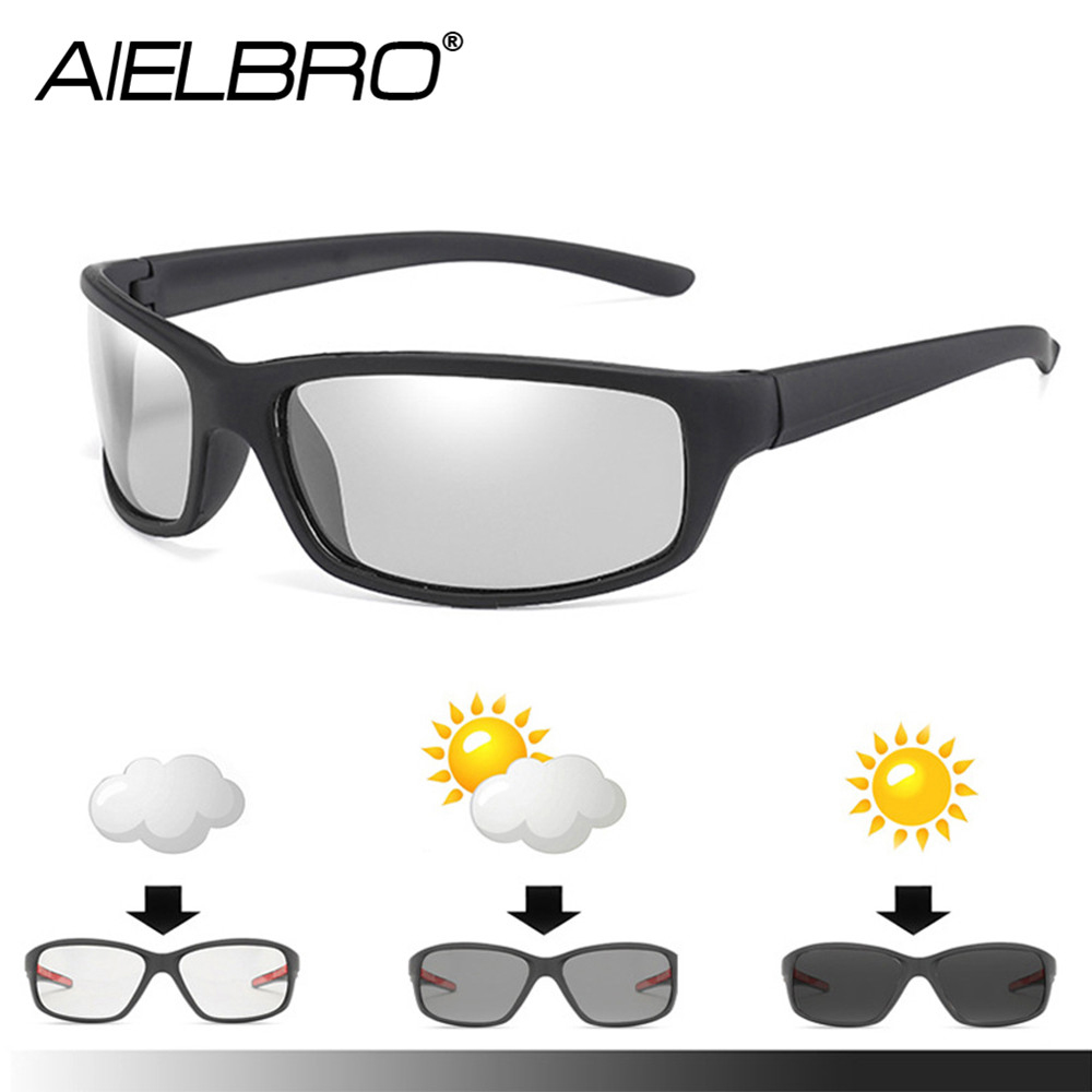 AIELBRO Photochromic Cycling Sunglasses Black Frame Cycling Eyewear Photochromic Sunglasses Oculos Ciclism Man Cycling Glasses