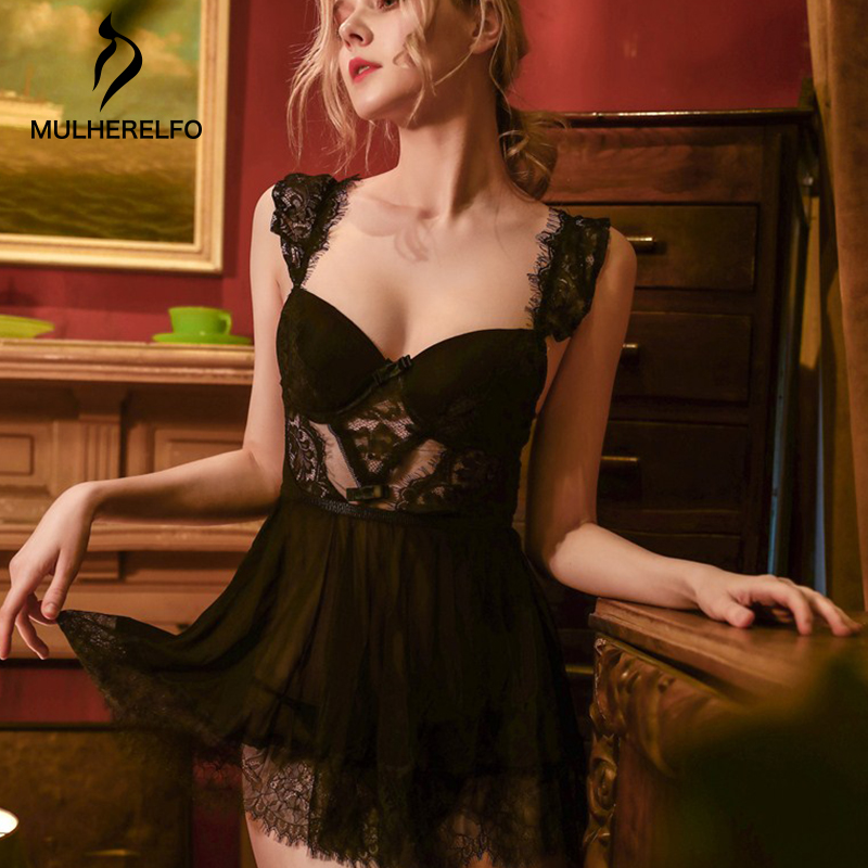 Sexy Black Backless Lace Nightwear Women Sleeveless See Through Spaghetti Strap Mini Nightgowns Women Home Temptation Sleepwear
