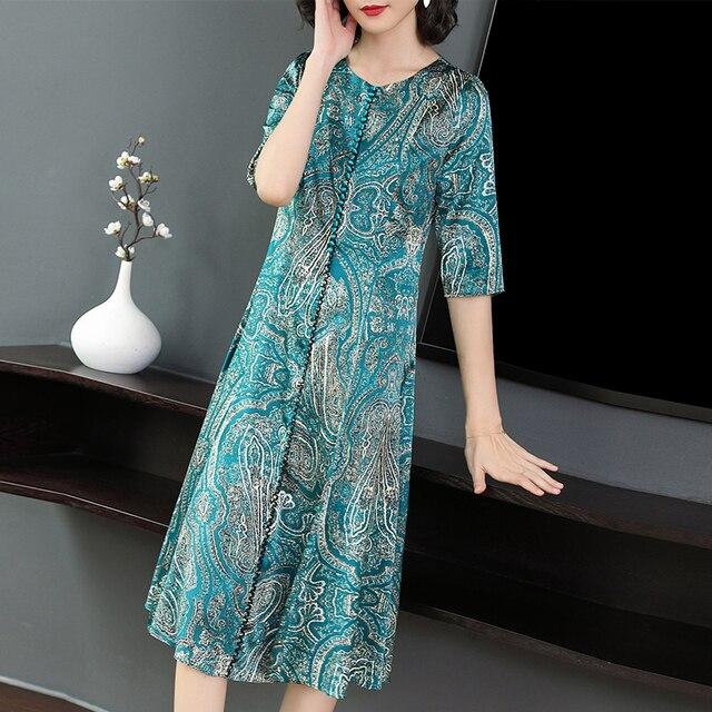 Plus Size Women Dresses Silk chiffon Dress Sweet Lady Loose Printing Dresses Summer Fashion Spring Elegant Vestidos de Festa