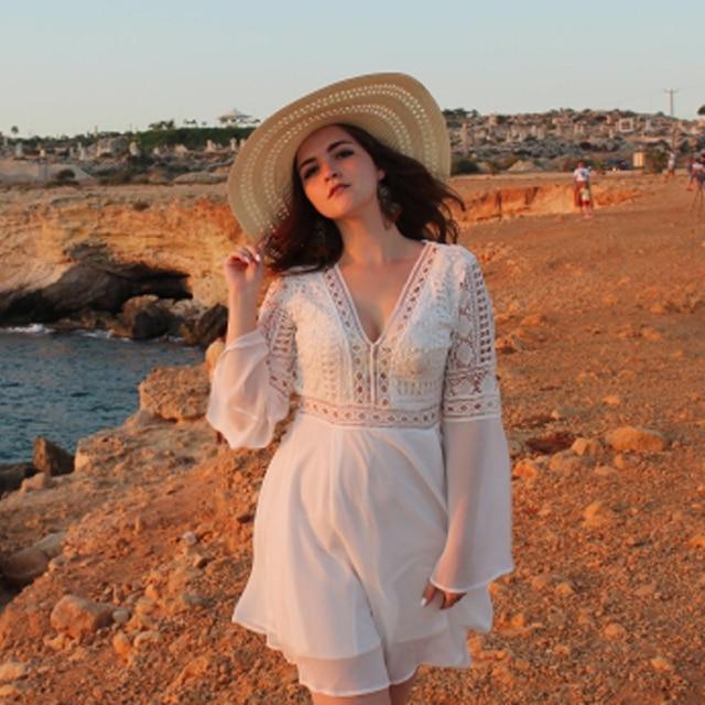 Hollow Out White Dress Sexy Women Mini Chiffon Dress 1