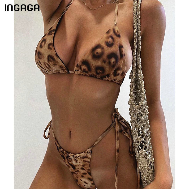 INGAGA Sexy Push Up Bikinis Mujer Micro Thong Swimwear Women Leopard String Halter Biquini High Cut Swimsuit Feamle 2020 Bathers