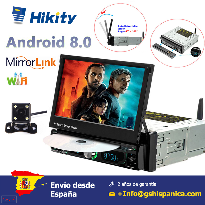 Hikity 7'' Android 8.0 Car radio 1din TFT LCD Touch screen Multimedia Player DVD Player GPS Navigation FM AM USB image