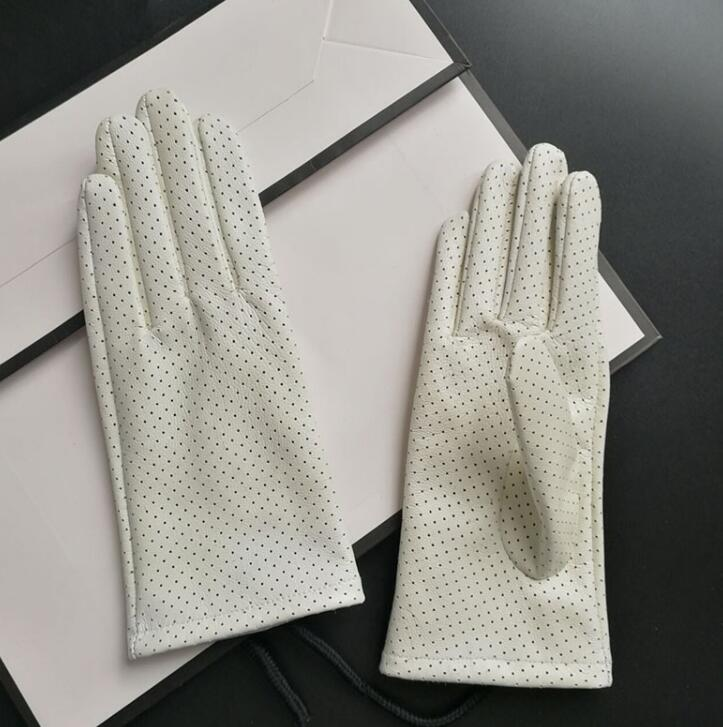 Women's Spring Autumn Natural Sheepskin Leather Hollow Out White Glove Lady's Genuine Leather Driving Glove R2238