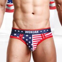 Nova marca eua bandeira impresso masculino briefs 95% algodão cueca masculina sexy baixa cintura cueca