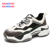 Krasovki Genuines Sneakers Women Autumn Fashion Dropshipping Breathable Mixed Colors Mesh Sewing Leisure Lace Shoes