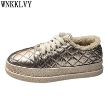 Cotton Shoes Sneakers Down-Cloth Wool Winter Lace-Up Comfort Women Flat Thick Waterproof