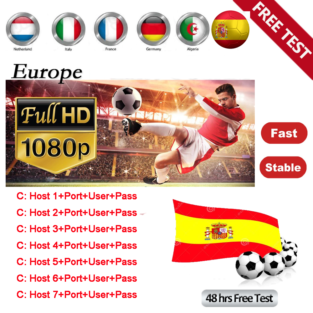 Newest 2019 Super Stable Cccams For Europe Spain Cccam Clines Satellite Tv Receiver 7lines WIFI FULL HD DVB-S2 Support Ccams
