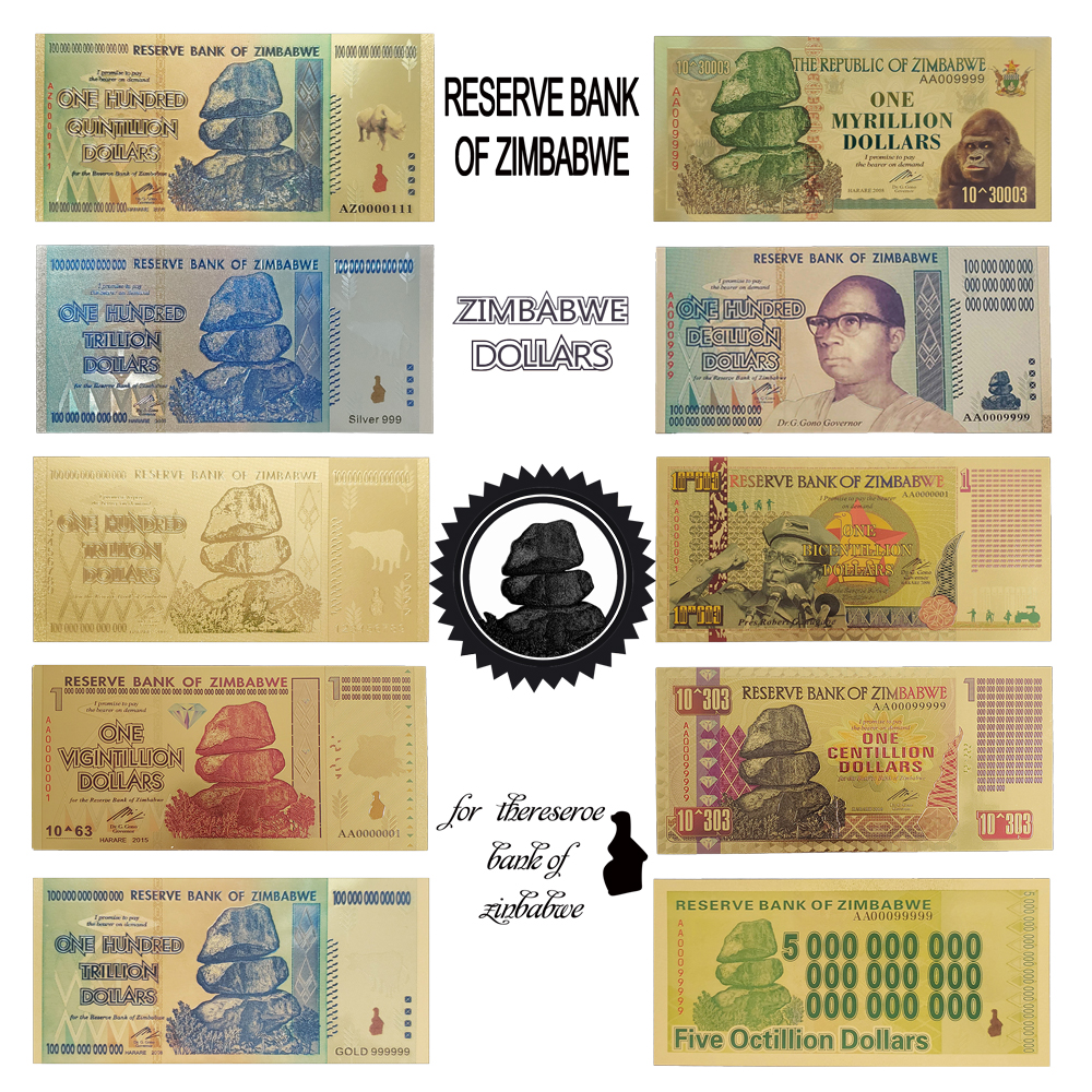 RH 10Pcs/lot Zimbabwe Notes One Hundred Trillion Quintillion Centillion Note Gold Banknote In 24k Gold Plated For Collection