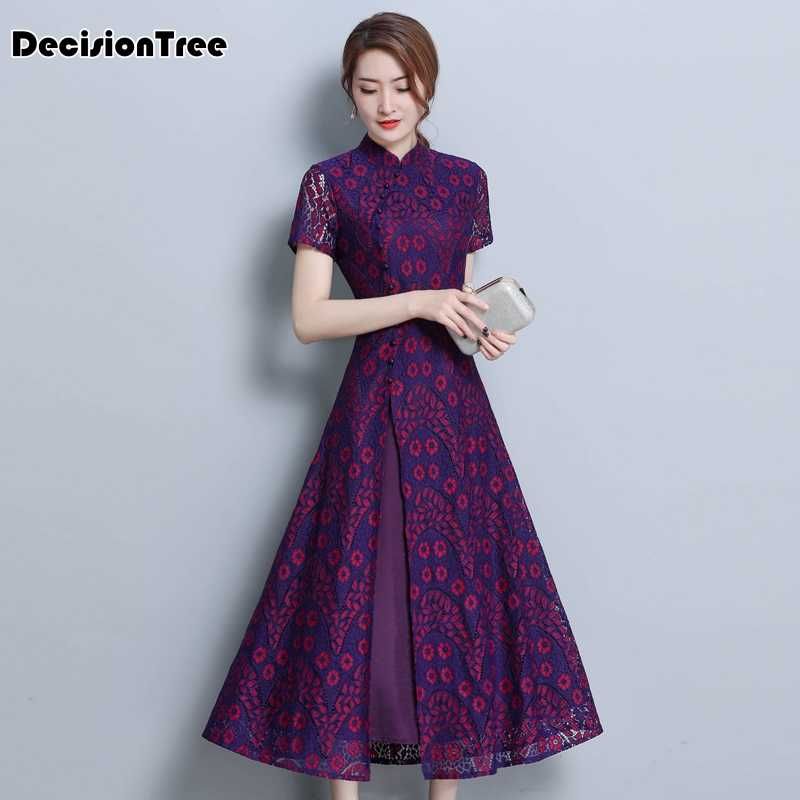 2019 asian clothing ao dai vietnam traditional qipao women chinese dress chinoise modern cheongsam flower print aodai