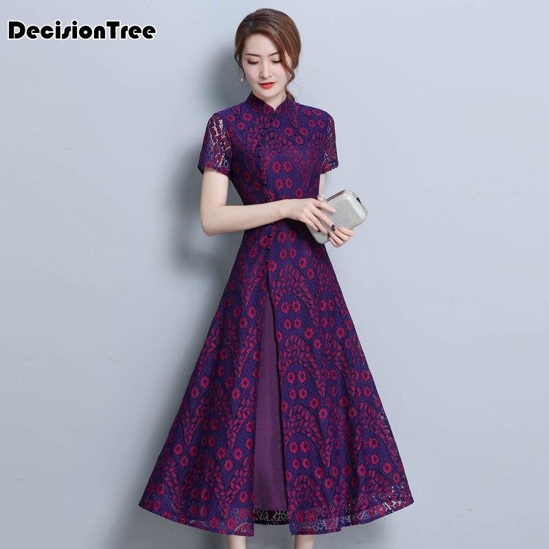 2019 Asian Clothing Ao Dai Vietnam Traditional Qipao Women Chinese Dress Chinoise Modern Cheongsam Flower Print Aodai