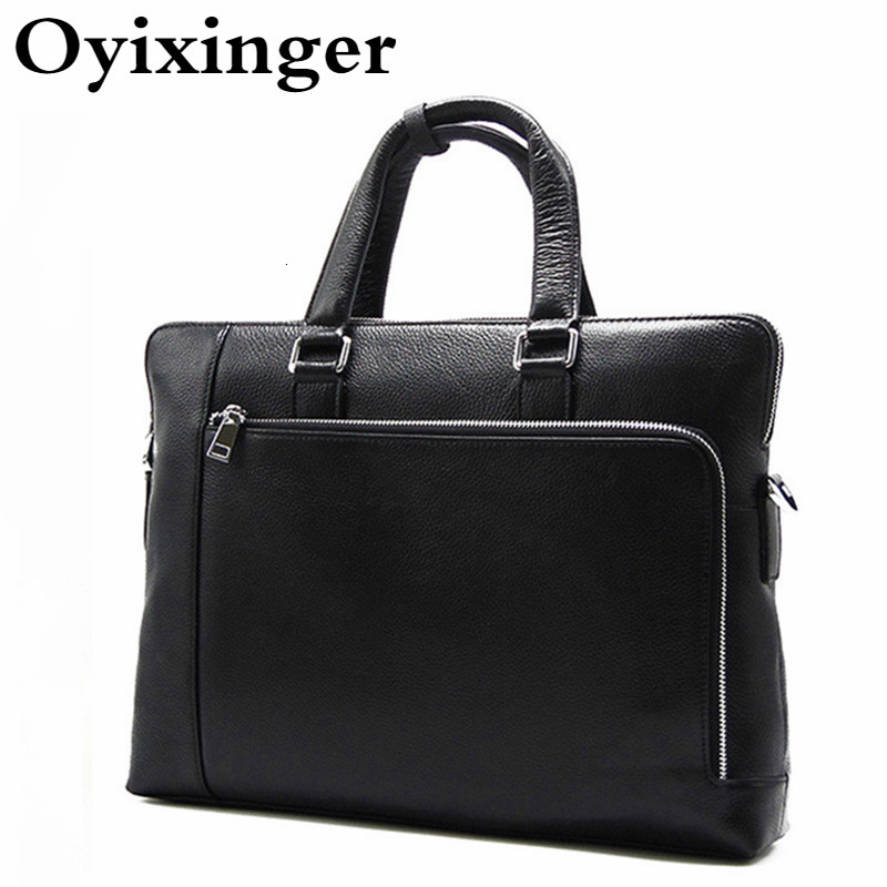 Men's Luxury Handbags Men Crossbody Genuine Leather Bags For Male Designer Business Shoulder Messenger Cowhide Briefcase Black