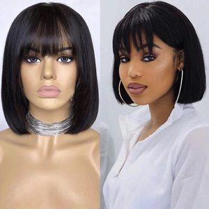 Straight Bob Wig with Bangs Cheap Human Hair Wigs with Bangs for Black Women Brazilian Full Machine Wigs Can Be Permed & Dye