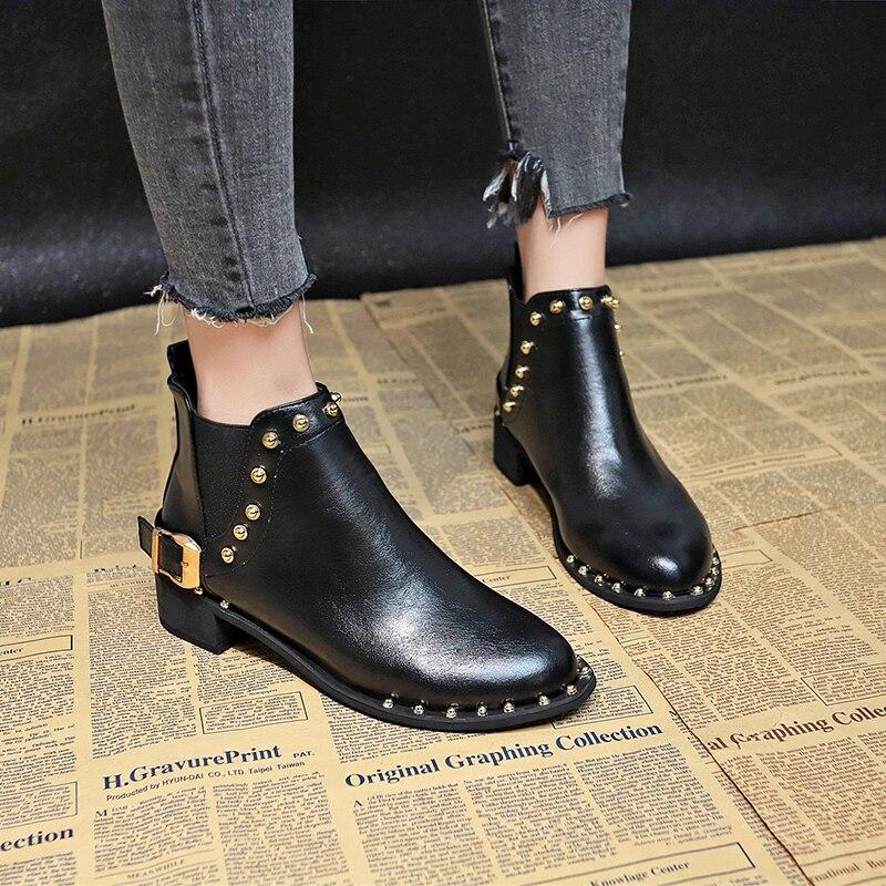 Chelsea Boots Brown Rivet Ankle For Women Black Shoes 2019 New Autumn Fashion  Slip On Combat