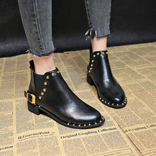 Chelsea Boots Brown Rivet Ankle Boots For Women Black Boots Shoes Women Boots 2019 New Autumn Fashion  Slip On Combat Boots