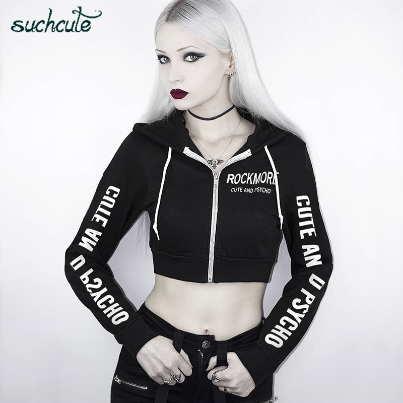 SUCHCUTE Female Hoodies With Zipper Gothic Kpop Bangtan Clothes Autumn 2019 Hip Hop Harajuku Hoodie Tops Sweatshirts For Women