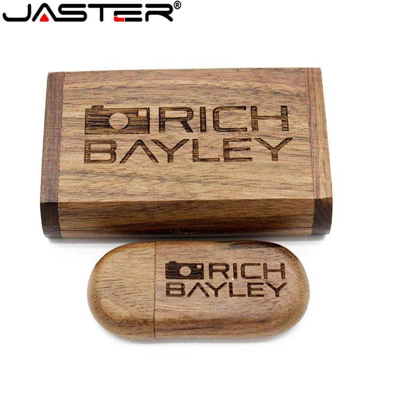 JASTER Wooden USB Flash Drive Memory Stick+Box Pen Drive 4GB 16GB 32GB 64GB Pen Drive Wedding Gift 1PCS Free Custom Logo