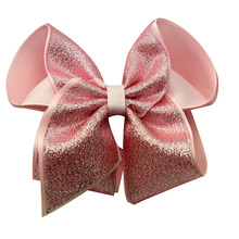 Adogirl Glitter Hair Bows For Girls Solid Color Handmade Four-leaf Clover Shine Hairpin Dance Shchool Boutique Accessories
