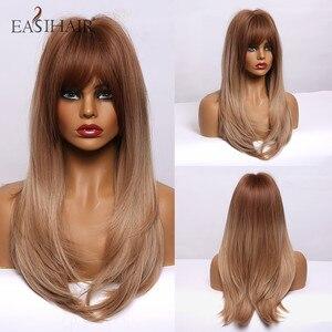 Image 5 - EASIHAIR uzun düz sentetik peruk kahverengi sarışın Ombre saç peruk patlama ile kadın Afro yüksek yoğunluklu isıya dayanıklı peruk