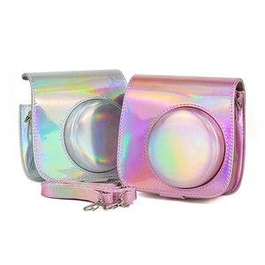 Image 3 - Schouder Camera Tas Beschermhoes Kleurrijke Bos Patronen Lederen Camera Tas Voor Fujifilm Instax Mini 8/ MINI8 +/ 9