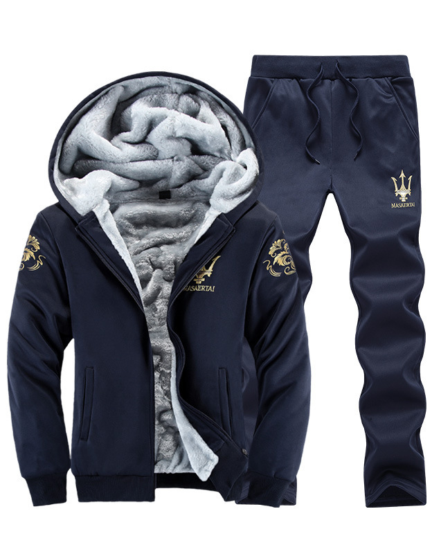 Thicken Men's Leisure Suit Men's Wear Sports Trend Plus Velvet Sweater