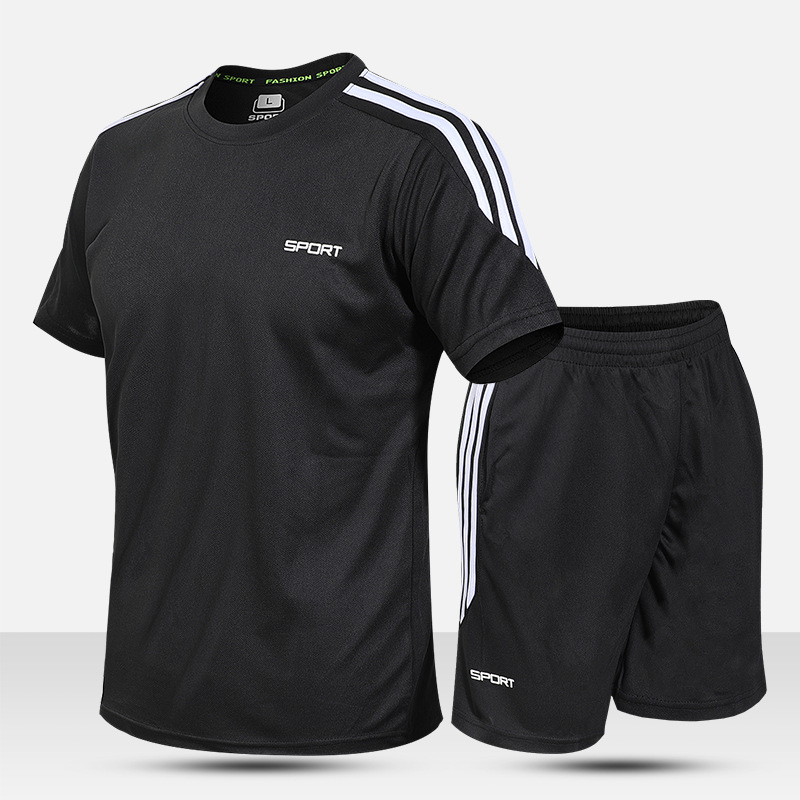 Summer Thin Section Short Sleeve Sports To Set Men Outdoor Sports Fitness Running Quick-Dry Set Groups Sports Clothing