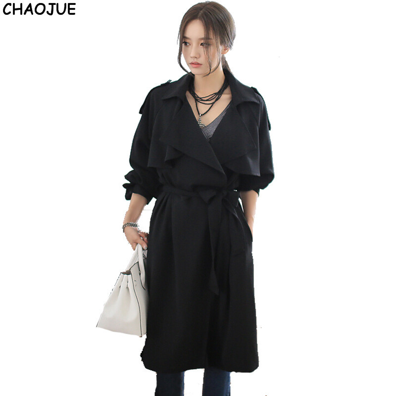 CHAOJUE Loose long   trench   coat female 2018 spring/fall raglan sleeve fashion black over coat womens grace trenchcoats for gift