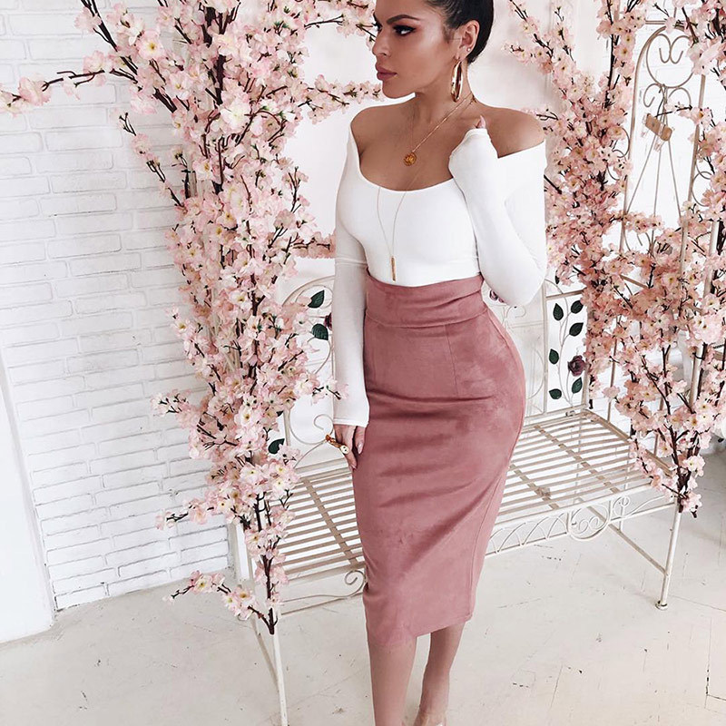 Elegant Women High Wasit Skirt Office Lady Slim Fit Tube Party Club Casual Back Slit Midi Pencil Skirt