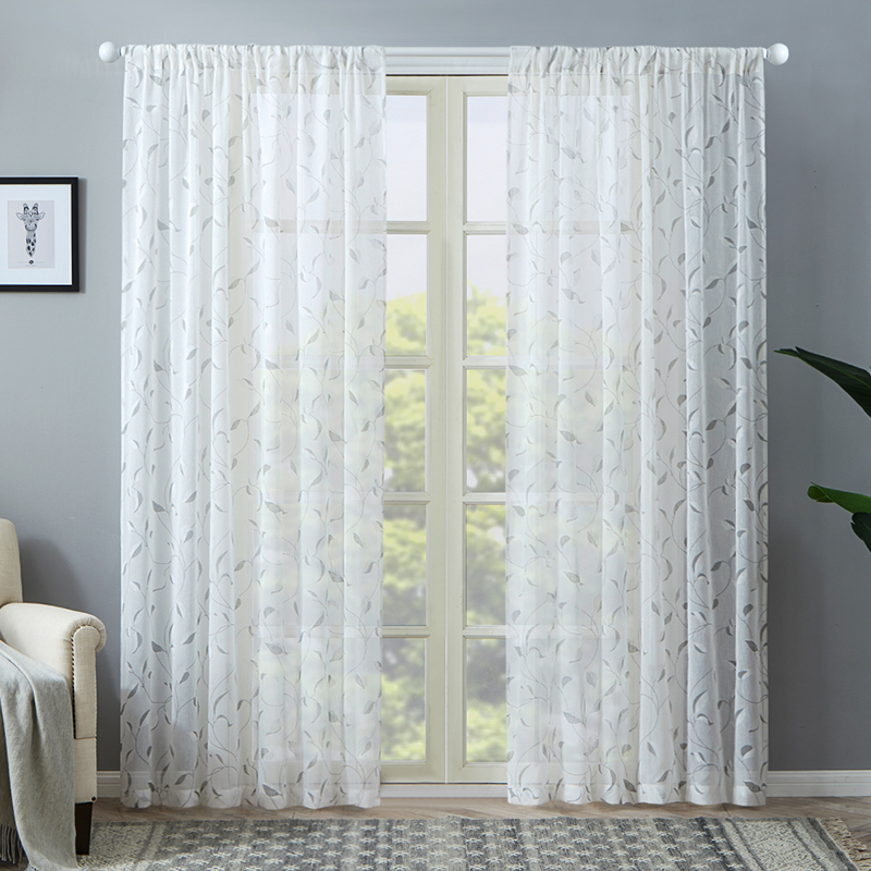 Modern White Tulle Curtains for Living Room Bedroom Kitchen Leaf Sheer Curtains for Window Tulle Curtains Decoration Drapes title=