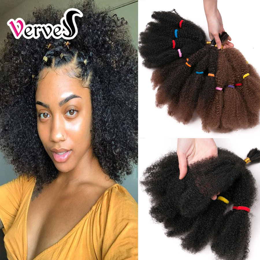 VERVES Culry Crochet Braids Hair Extensions 12 Inch, Blonde Synthetic Ombre Braiding Hair Afro Kinky Bulk Braids Bug,brown