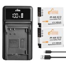 Ensemble de batteries et accessoires, 1400mAh, pour appareil photo Nikon Coolpix S9900 S9700 AW120 S9500 AW110 S70
