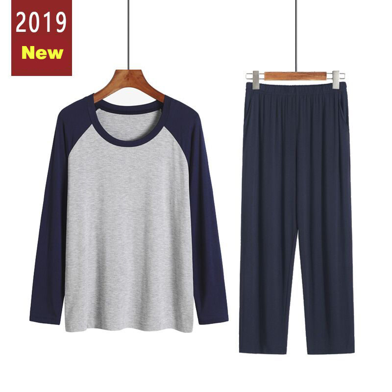 New Men Pajama Set Casual V-neck Long Sleeve Autumn Winter Sleepwear Men Loose Plus Size Home Clothes Male Pyjamas For Men