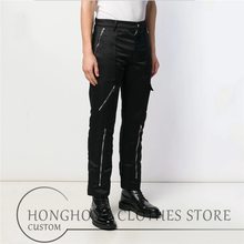 27-44! Customized fashionable spring and autumn leisure pants youth personality slim straight pants oversized men's overalls