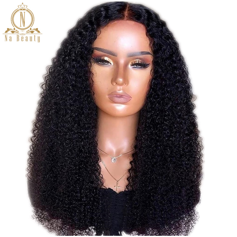 Mongolian Kinky Curly Wig 360 Lace Frontal Wigs Pre Plucked 13x6 Lace Front Human Hair Wigs Black Remy Hair For Women NABEAUTY