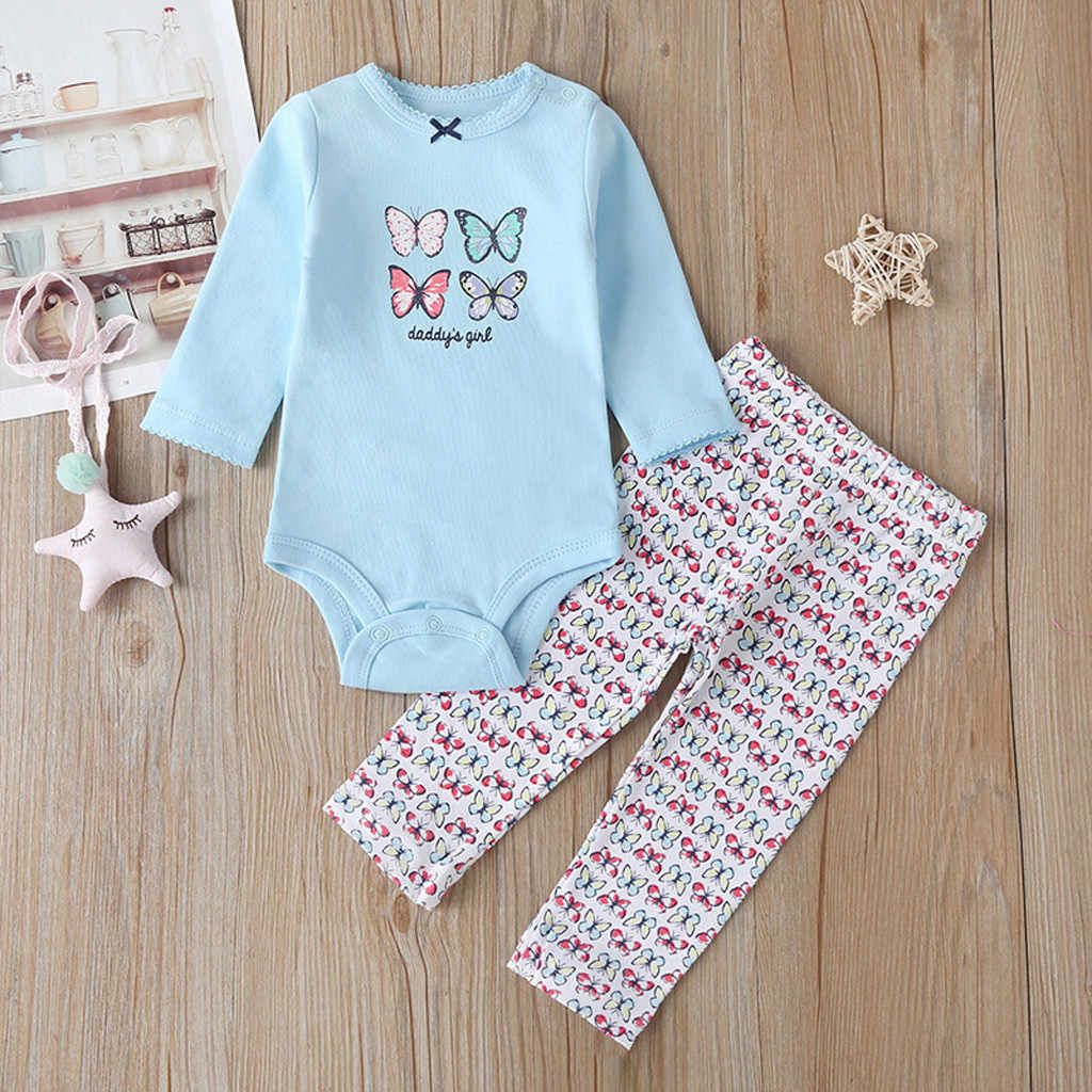 Newborn Infant Baby Girls Boys fashion Long sleeve Cartoon Letter Romper+Long Pants Outfit baby girl clothes детские вещи#guahao