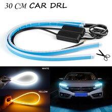 2pcs Slim dress up Headlights Turn Lights Car Strip Light Flexible Soft LED DRL Lamp for Universal Multi-color Option