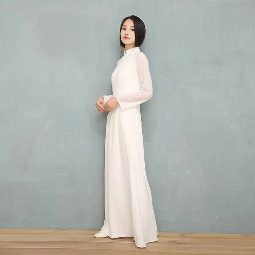 2019 Vietnam Ao Dai White Solid Chiffon Perspective Dress For Woman Chinese Cheongsams Full Sleeve Female Oriental Dress