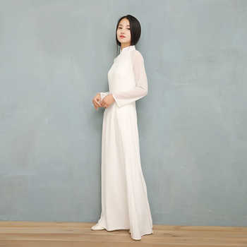 2019 Vietnam Ao Dai White Solid Chiffon Perspective Dress for Woman Chinese Cheongsams Full Sleeve Female Oriental Dress - DISCOUNT ITEM  39% OFF All Category