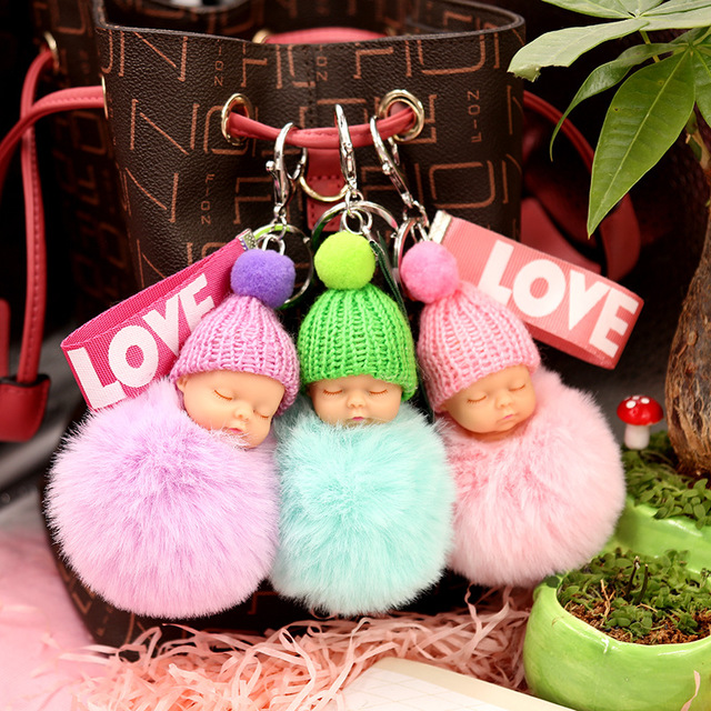 Fashion 16 Colors Sleeping Baby Doll Hanging Piece Hair Ball Pendant Cute Fluffy Pompom Chain Cotton Wool Holder Bag Ball Toy