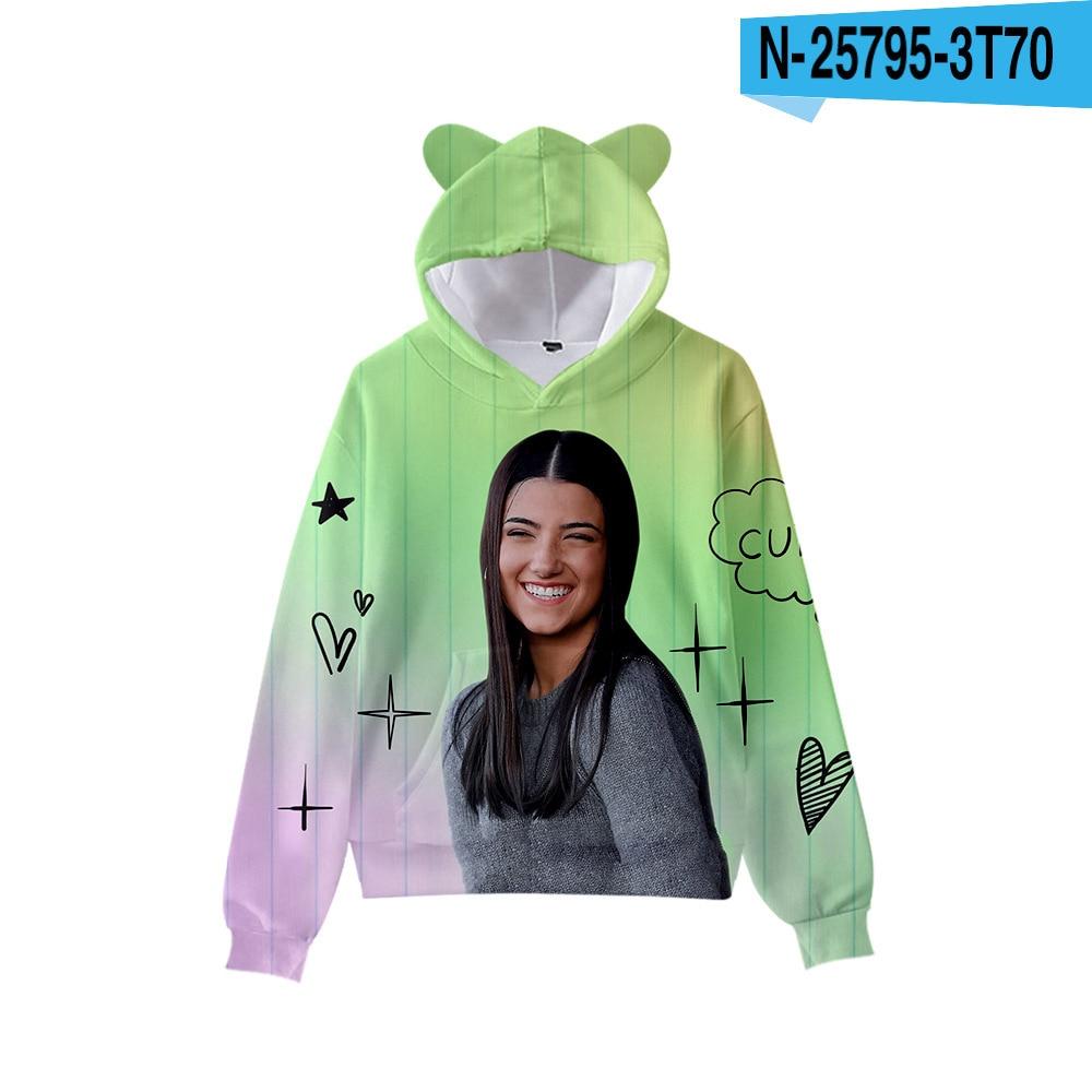 3D Print Charli D'Amelio Hoodies Boys/Girls Cat ears Hip hop Kpop Sweatshirts Hooded Autumn Winter Charli Damelio Merch Tops 13
