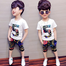 Male children summer boy handsome two-piece suit childrens wear cuhk with short sleeves