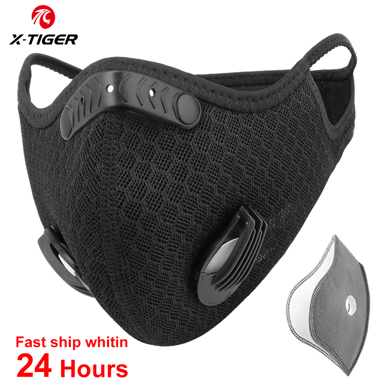 X-TIGER Cycling Face Mask Antiviral Protection Mask Breathable Cycling Mask Anti-Pollution With Activated Carbon Filters