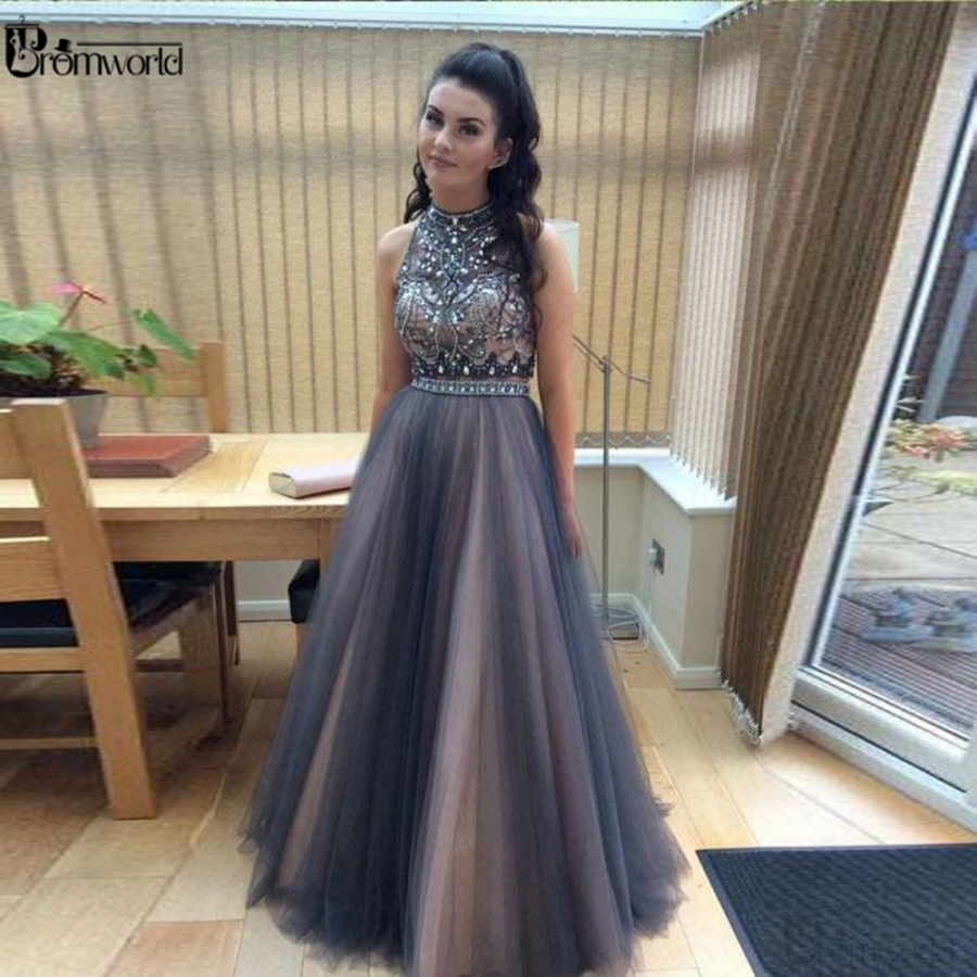 Gray Crystals Beaded  Tulle Prom Gown A-Line Sleeveless Prom Dresses Long 2020 Vestidos De Fiesta Largos Elegantes De Gala