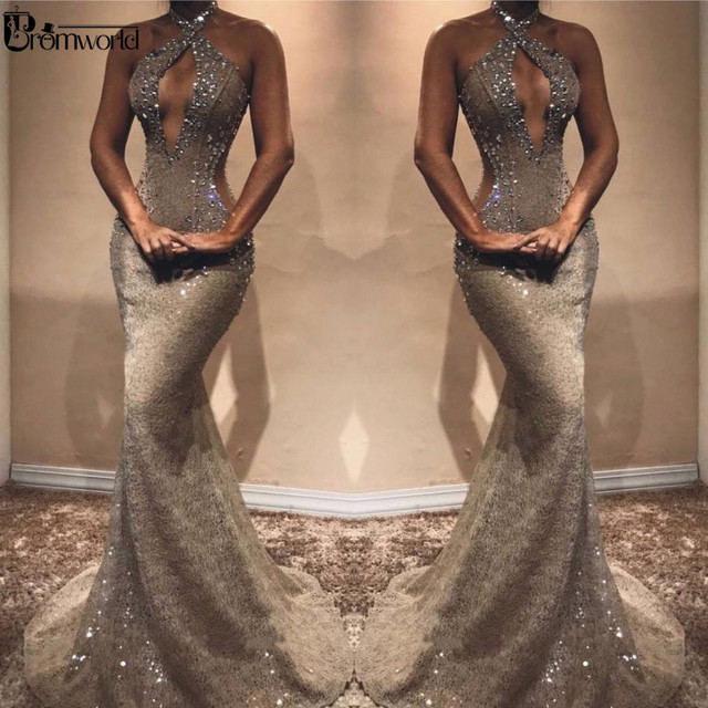Sexy Beading Lace Prom Dresses 2019 Hater Neck Charming Crystal Sleeveless Mermaid Evening Dress Long Dress Party Robe De Soiree 1
