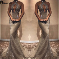 Sexy Beading Lace Prom Dresses 2019 Hater Neck Charming Crystal Sleeveless Mermaid Evening Dress Long Dress Party Robe De Soiree