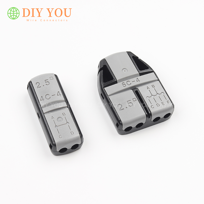JOWX Quick Wire Connector Non-stripped Cable Wiring Connectors Splice Crimp Terminals 6/4 Way 1 In 3/5 Out For 2.5mm2 13~12AWG