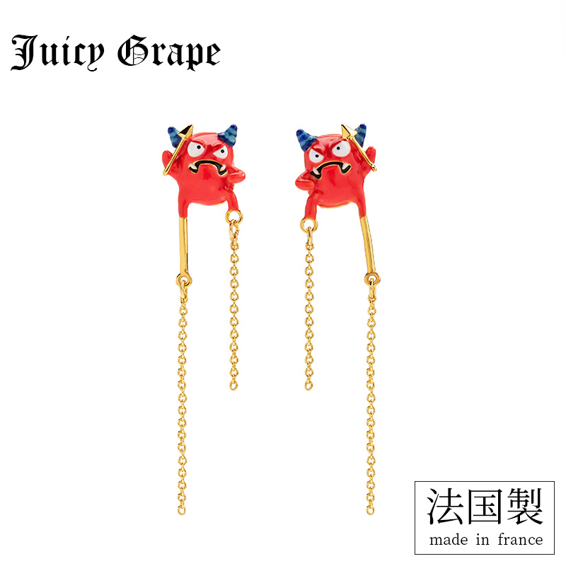 Juicy Grape 2019 new fashion enamel glaze red slug small monster tassan personality earrings women long earrings