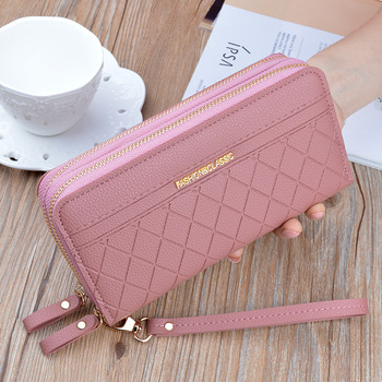 Double Zip Faux Leather Clutch Wallet