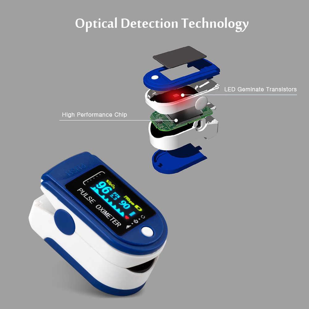 แบบพกพา Oximetro ออกซิเจนในเลือด Finger PULSE Oximeters Digital Fingertip เครื่องวัดความอิ่มตัวของความอิ่มตัวของออกซิเจนเมตรไม่มีแบตเตอรี่