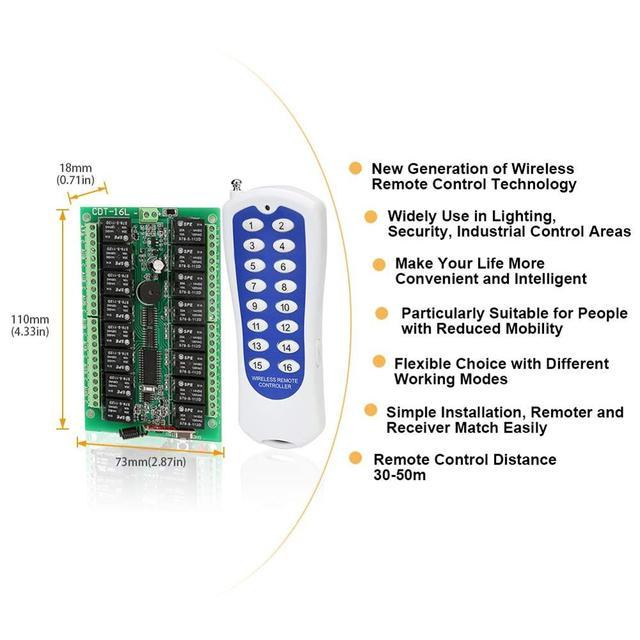 Commutateur de lumière momentanée   Télécommande sans fil 12V DC, récepteur de relais RF 16CH 433Mhz avec émetteur