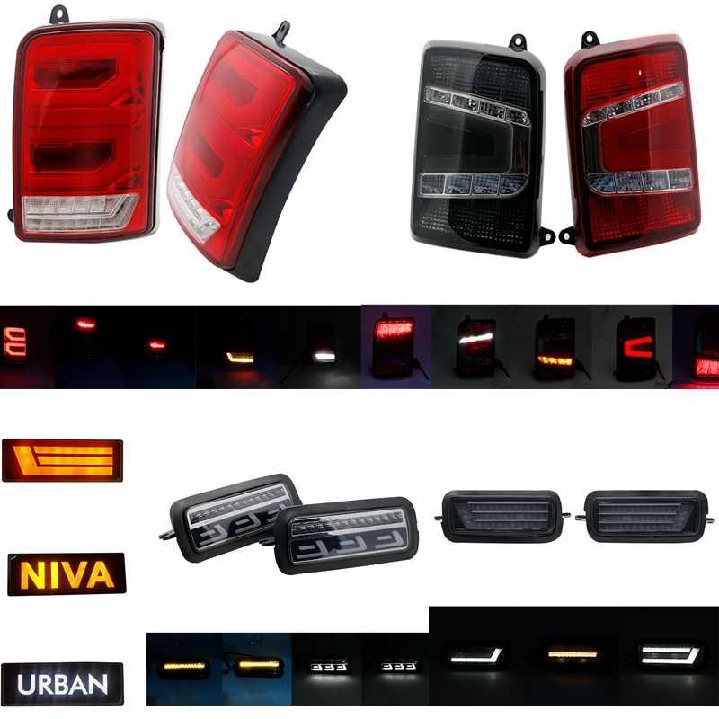 """Para Lada Niva 4X4 urbano 7 """"Faro lateral LED DRL luz blanca corriendo ámbar Función de señal de giro accesorios Led relé de luz trasera"""